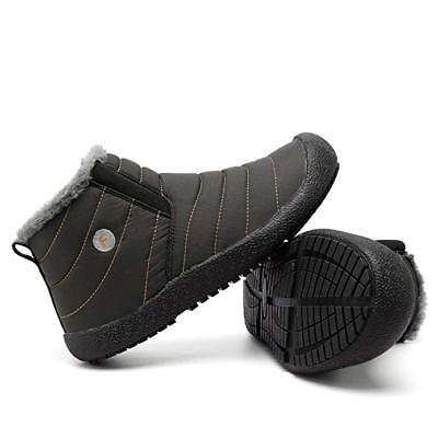 Mens Winter Ankle Snow Boots Shoes Fleece Lined Slip On Cotton Warm Work Outdoor