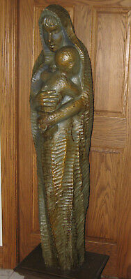 HAND CARVED ANTIQUE WOODEN STATUE 5' t. OF MADONNA AND CHILD