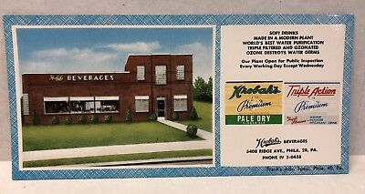 Hrobak's Beverages-Philadelphia, PA-Advertising Ink Blotter-Bottling Plant 1940s