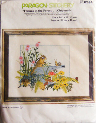 """RARE! Paragon """"FRIENDS IN THE FOREST-CHIPMUNK"""" Crewel Stitchery Kit #0244 - New!"""