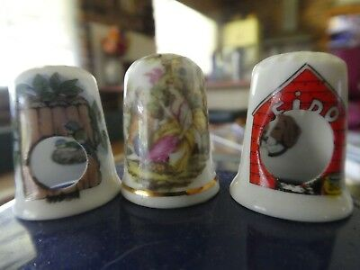 Vintage Collectable Birchcroft Thimbles X 2 And A Bone China Thimble