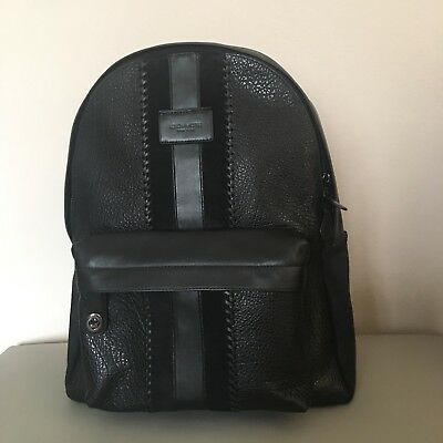 NWT COACH  F25513 Men s Campus Backpack With Baseball Stitch Black 858cf2e63f98d