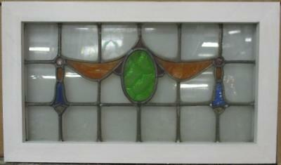 """MID SIZE OLD ENGLISH LEADED STAIN GLASS WINDOW Nice Swag & Drops 24.5"""" x 14.25"""""""