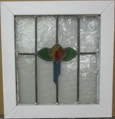 "MID SIZED OLD ENGLISH LEADED STAINED GLASS WINDOW Colorful Floral 21.25"" x 22.5"""