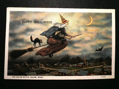 Unusual Old Halloween Postcard: Witch on Broomstick, Black Cat & Poem on Back