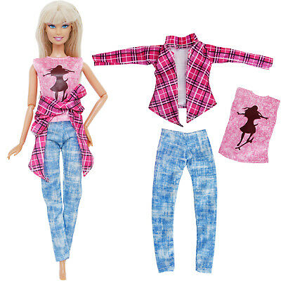Pink Plaid Jacket Vest Pants Accessories Clothes For 12 in. Girl Doll Toy Gift