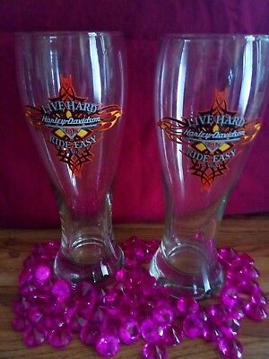 Tall Beer Glasses Harley Davidson by LIBBEY 👍