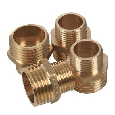 4Pcs 1/2 inch BSP to 3/8 inch SP Male Thread Brass Pipe Hex Nipple Fitting E9K3
