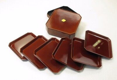 Otagiri Coaster Set Japan Handcrafted 6 In Square Case Brown & Black Lacquerware