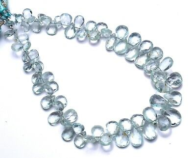 """Natural Aquamarine Gem Faceted 7x5 to 11x8MM Pear Shape Briolette Beads9"""" Strand"""