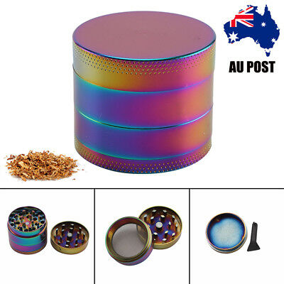 4 Layer Metal Zinc Alloy Rainbow Tobacco Herb Grinder Hand Mull Smoke Crush DIY