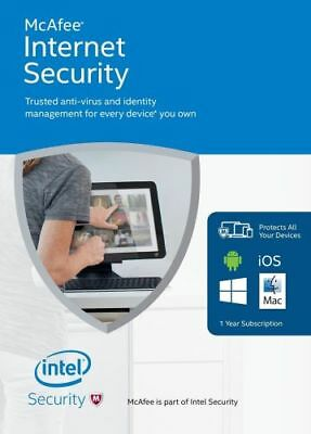 McAfee Internet Security 2018 3 PC / Geräte / 1Jahr Vollversion Antivirus