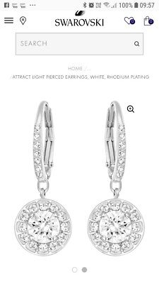 910ac4f96a398 SWAROVSKI ATTRACT LIGHT PIERCED EARRINGS, WHITE Authentic 5142721 ...