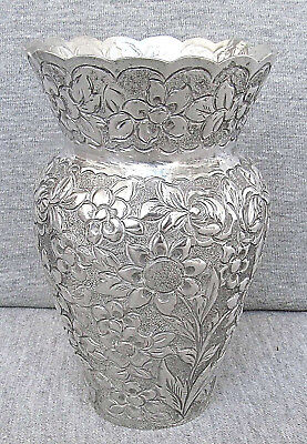 ITALY ITALIAN VINTAGE REPOUSSE ENGRAVING SILVER 800 FLORAL SMALL VASE 132 gr.