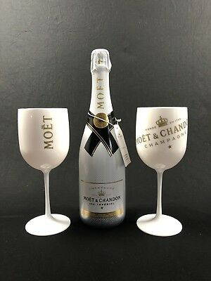 Moet Chandon Ice Imperial Champagner 0,75l 12% Vol + 2 Glas Weiß Acryl Becher