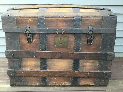 Antique 1800 Dome Top Steamer Trunk Wood/Metal Chest Stagecoach Hartford, CT
