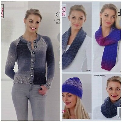 25d519150949f5 KNITTING PATTERN Ladies Easy Knit Cardigan Hat Scarf Cowls Chunky King Cole  5240