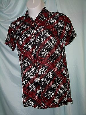 Kathie Lee Black Red White Geometric Polyester Tunic Shirt Size S Vintage 80s