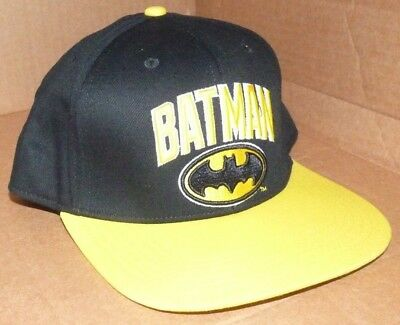 half off 35e04 c3b06 NEW DC COMICS BATMAN Flat Brim Snapback Embroidered Baseball Hat Cap Men NWT