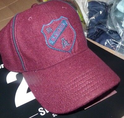 NEW A. KURTZ Baseball Style Hat Cap Men ONE SIZE Fitted Maroon Shield WOOL NWT