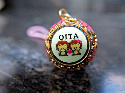 OITA Japanese Metal Bell Souvenir Pink Enamel and Gold with Monkeys Jingle Bell