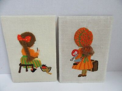 2 Finished Sunset Crewel Sewin & Travelin Girls Completed 5x7 Vintage