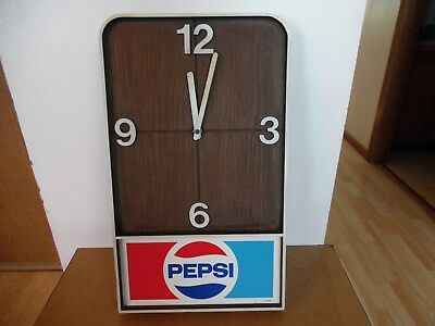 Vtg 60's 70's PEPSI Pepsi-Cola MAN CAVE DEN STUDY WALL CLOCK Soda Pop Sign Works