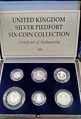 Uk Royal Mint 6 Piece Silver Piedfort Collection ~ With Case & Coa ~ 500 Sets
