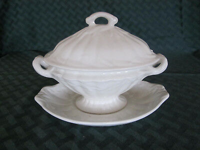 Vintage Adams White Ironstone covered sauce tureen gravy boat and undertray