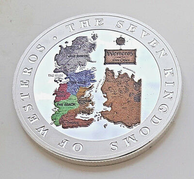 GAME OF THRONES Silver Coin Wall Kinights Watch Winter fell Disney Gold Crown UK