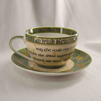 NEW Irish Weave Clara Tea Cup & Saucer Blessings Bone China