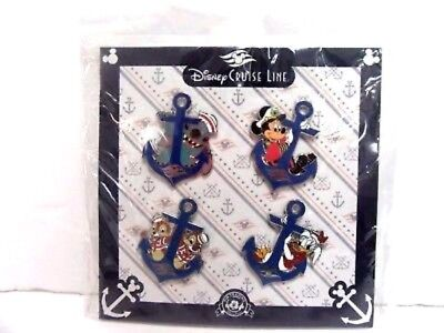 New Sealed~Disney Cruise Line~Collector Pins~Set 4~Lot Of~Anchor Mickey~Trader