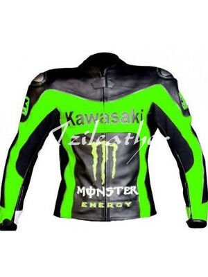 New Mens Green Black Racing Motorcycle Cowhide Leather Jacket For Kawasaki