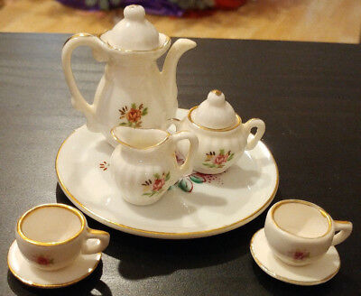 Vintage Miniature Mini Tea Set Pink Floral 10 Pc Porcelain Gold