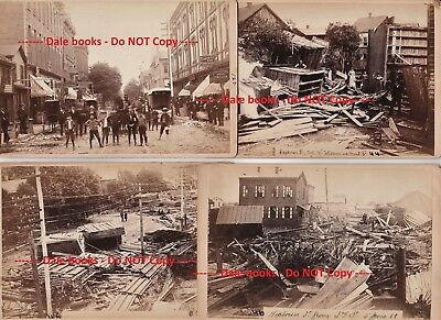 RARE 64 Albumen Photos LOT - 1889 Williamsport PA Flood - Graphic Disaster