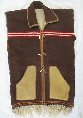 Vintage Authentic Old West Cowboy Blanket Vest Montana
