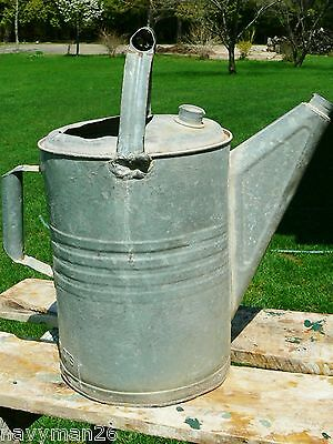 Vintage Primitive Galvanized Watering Can 12 Qt No Sprinkling Head Planter