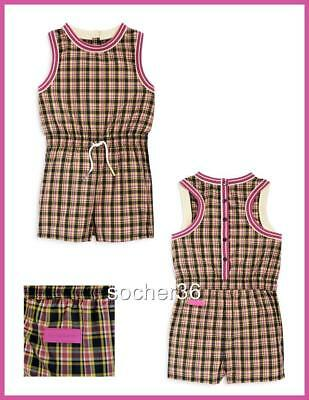 3ddf033e9a4 Burberry Girls  Pollie Check Playsuit Bright Coral Pink Size 10Y Or 12Y Nwt   240