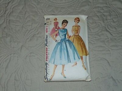 VINTAGE 1950's SIMPLICITY 1191 DRESS PATTERN - SIZE 14 BUST 32 - FREE SHIPPING