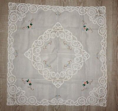 VTG Tablecloth  34x34  Scalloped Floral Sweet Shabby Chic Cottage Embroidered
