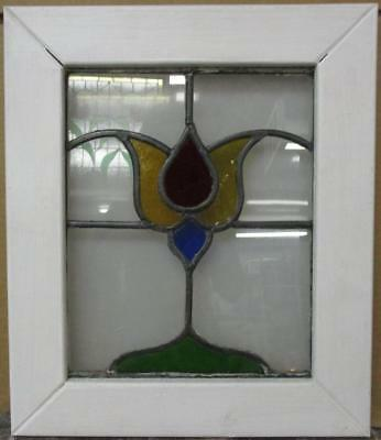 "OLD ENGLISH LEADED STAINED GLASS WINDOW Colorful Floral Design 15.5"" x 18.5"""