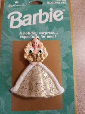Barbie Pin - Vintage 1996 Hallmark Mattel Doll Holiday Lapel Brooch