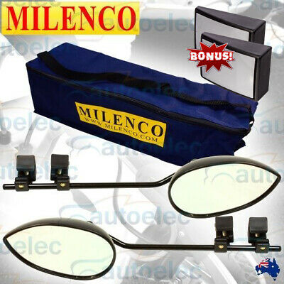 2x ( 1 PAIR ) MILENCO AERO3 EXTRA WIDE CONVEX CARAVAN TOWING MIRRORS + BONUS