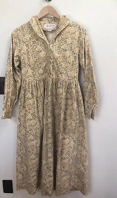 All Week Long Velvet Floral Yellow Roses Dress Collar Button Down 6 Vintage 90s