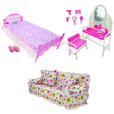 Bedroom Furniture Bed Dresser Sofa Shoes Dollhouse Accessories For 12 in.  Doll