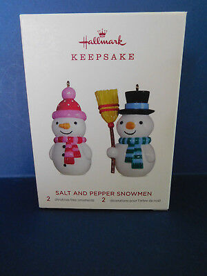 New In Box 2018 Limited Edition 2 Piece Salt And Pepper Snowmen Tree Ornaments