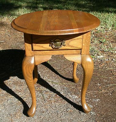 Yellow Oak Oval Side Table with drawer, heavily grained, distinctive