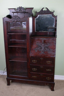 1800's Vintage Cherry Side by Side Secretary Desk with Curio/Bookcase