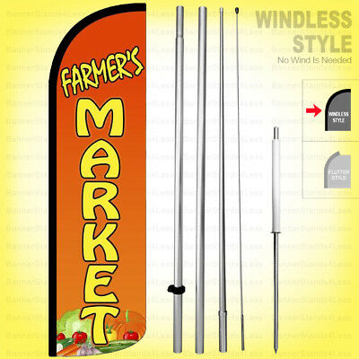 FARMER/'S MARKET Windless Full Curve Top Advertising Banner Feather Swooper Flutt