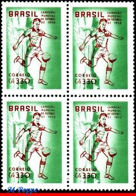 887-Q Brazil 1958 1959 World Cup, Brazil Champion, Soccer Football, Block Mnh